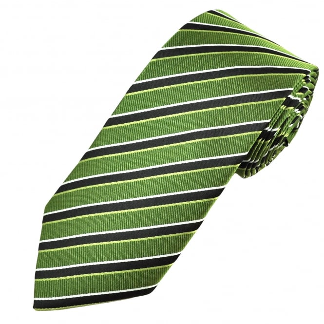 Green, Black & White Striped Men's Extra Long Tie