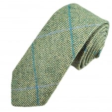Green & Blue Large Checked Patterned Tweed Wool Tie