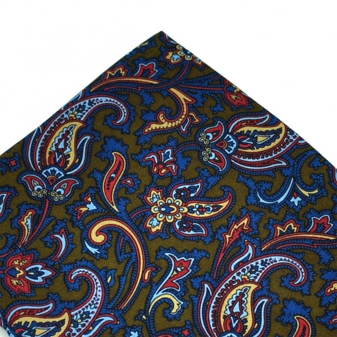 Green & Blue Paisley Patterned Silk Pocket Square Handkerchief