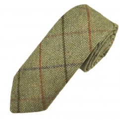 Green & Brown Large Checked Patterned Tweed Wool Tie