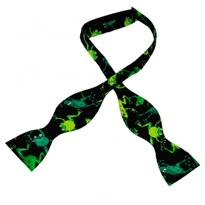 Green Cartoon Frogs on Black Novelty Self Tie Bow Tie