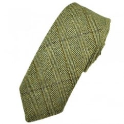 Green Checked Large Herringbone Tweed Wool Tie