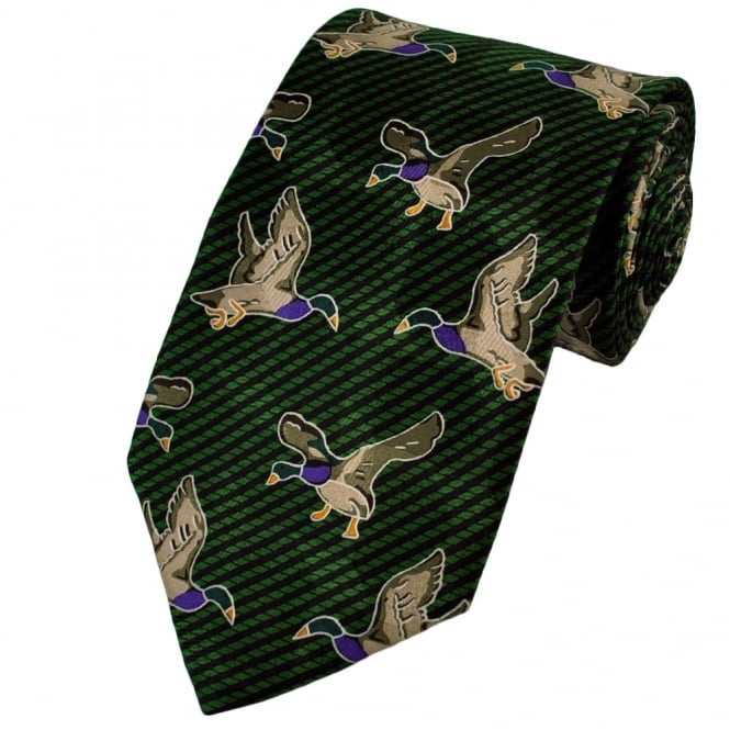 Green Ducks Novelty Silk Tie