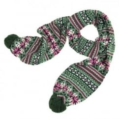 Green Fairisle Pom Pom Scarf by Lettuce of London
