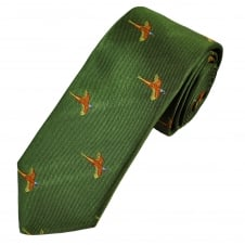 Green Flying Pheasant Silk Country Tie By Van Buck