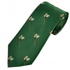 Green Flying Pheasants Country Tie