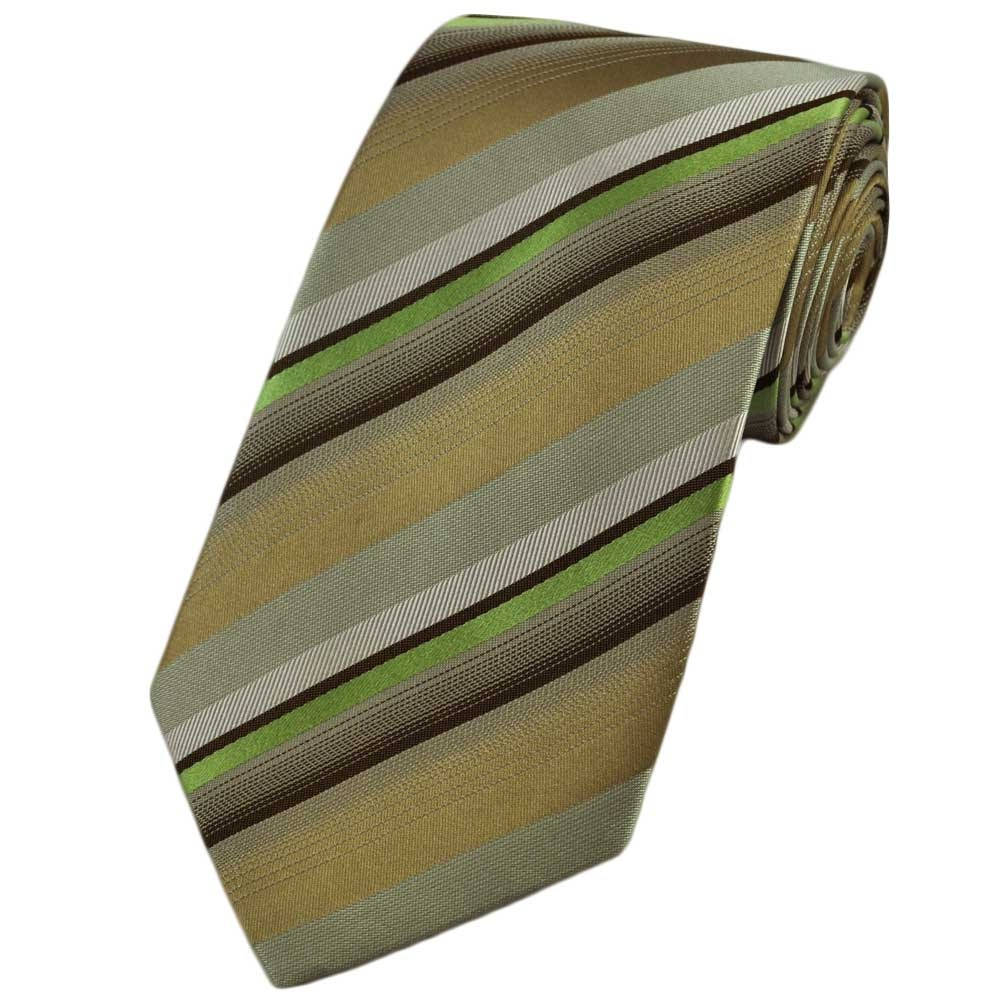 green gold silver striped silk tie from ties planet uk