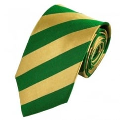 Green & Gold Striped Silk Tie