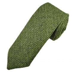 Green Herringbone Tweed Wool Tie
