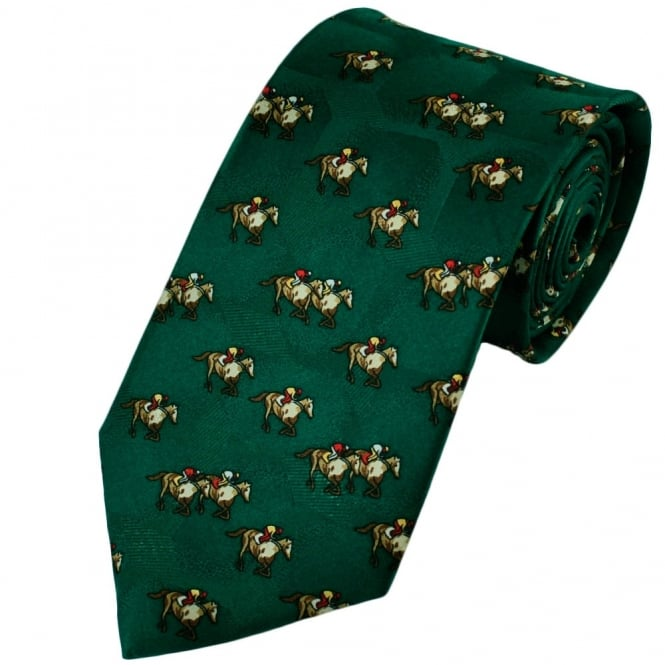 Green Horse & Rider Themed Silk Tie