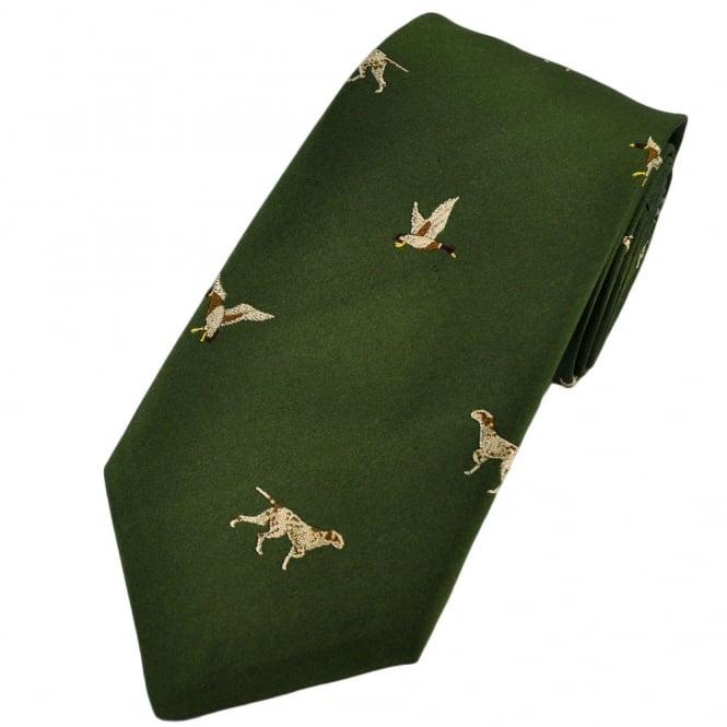 Green Hunting Dog & Ducks Silk Country Tie by Van Buck