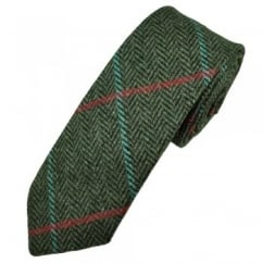 Green Large Checked Herringbone Tweed Wool Tie