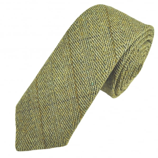Green Large Checked Patterned Tweed Wool Tie