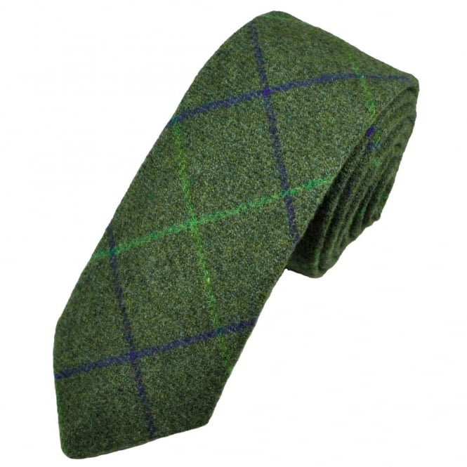 Green Large Checked Patterned Wool Tweed Tie