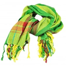 Green, Lime, Red & Yellow Check Square Scarf