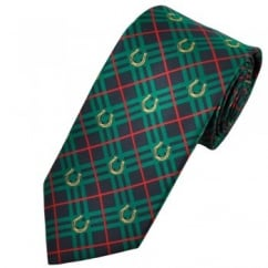 Green & Navy Blue Checked Horseshoe Country Tie