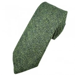 Green & Navy Blue Herringbone Tweed Wool Tie