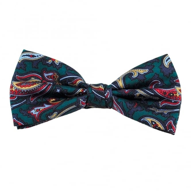 Green, Navy, Gold & Red Paisley Men's Silk Bow Tie