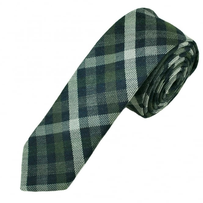 Green, Navy & White Checked Wool Blend Narrow Men's Tie