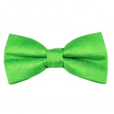 Green Paisley Patterned Boys Bow Tie