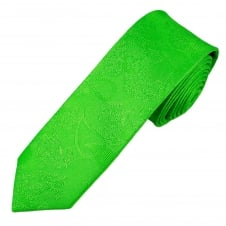 Green Paisley Patterned Boys Skinny Tie
