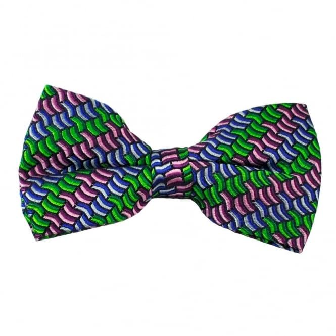 Ties & Bowties Green, Pink & Blue Patterned Men's Silk Bow Tie