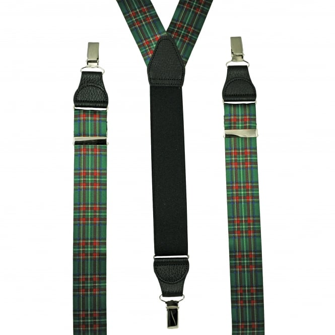 Green, Red, Blue & Yellow Tartan Checked Leather End Clip Trouser Braces
