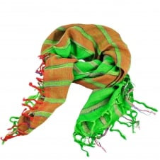 Green & Red & Silver lurex Striped Square Scarf
