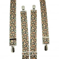 Green, Red, Yellow & Silver Paisley Patterned Trouser Braces