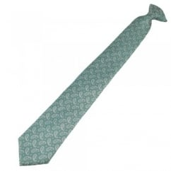 Green, Silver & Blue Paisley Patterned Clip On Tie