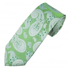 Green & Silver Paisley Patterned Luxury Men's Silk Tie
