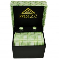 Green & Silver Patterned Men's Tie & Cufflinks Set