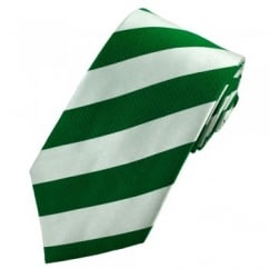 Green & Silver-White Striped Silk Tie