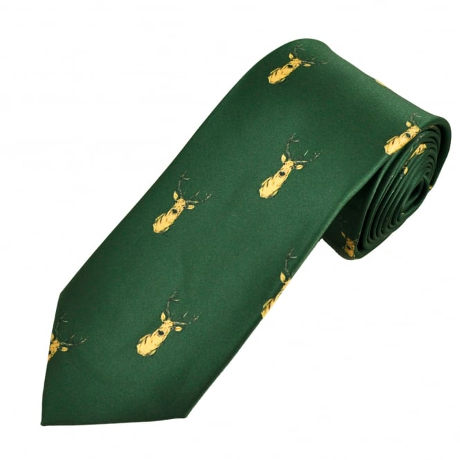 Green Stag Head Country Tie