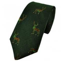 Green Stag Silk Country Tie by Van Buck