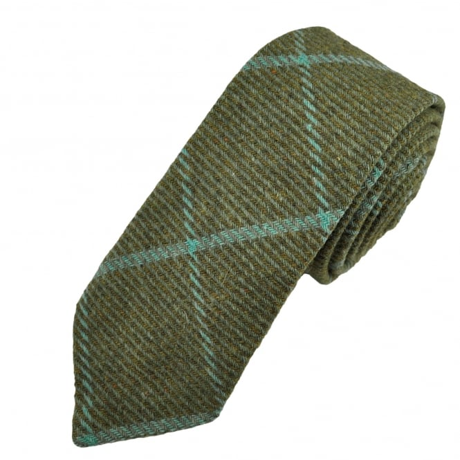 Green & Turquoise Large Checked Patterned Tweed Wool Tie