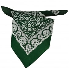 Green, White & Black Paisley Patterned Bandana Neckerchief