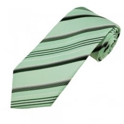 Green, White & Black Striped Boys Tie