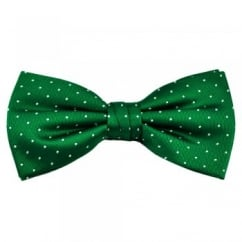 Green & White Polka Dot Silk Bow Tie