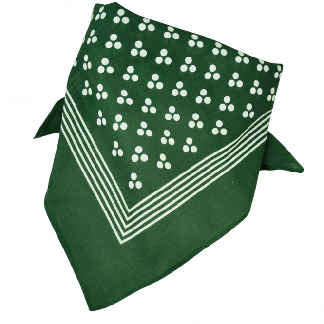 Green With White 3-Dot & Stripes Bandana Neckerchief