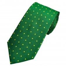 Green & Yellow Luxury Silk Polka Dot Men's Tie