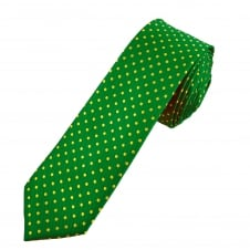 Green & Yellow Polka Dot Boys Skinny Tie