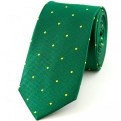Green & Yellow Polka Dot Silk Skinny Tie