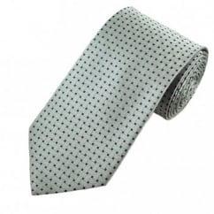 Grey & Black Basket Weave Patterned Men's Tie