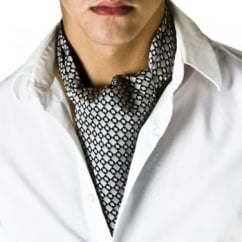 Grey & Black Checked Casual Cravat