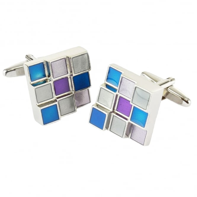 Grey, Blue & Purple Square Cufflinks