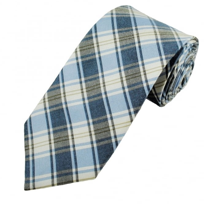 Grey, Blue, White Checked Men's Silk Cotton Mix Tie