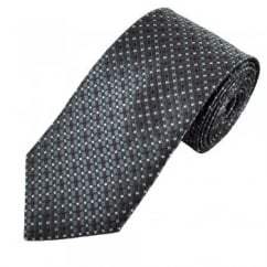 Grey, Burgundy & Silver Micro Checked Patterned Men's Tie