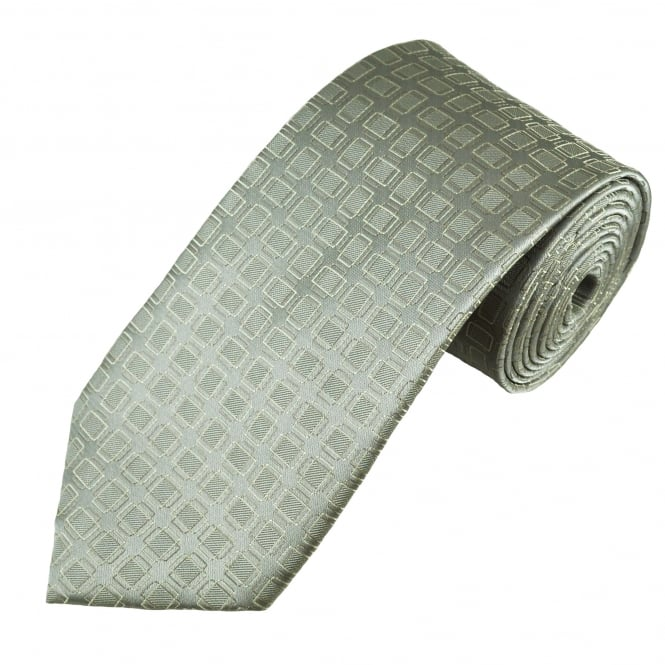 Grey, Cream & Beige Square Patterned Men's Tie