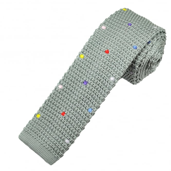 Grey & Multi Coloured Polka Dot Knitted Skinny Tie